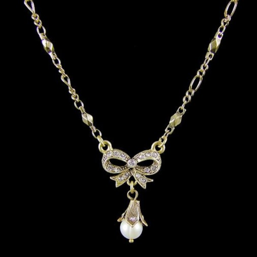 Naples Bow Vintage Wedding Necklace (Gold)