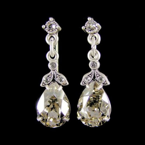 Trieste Crystal Pear Earrings (Silver)