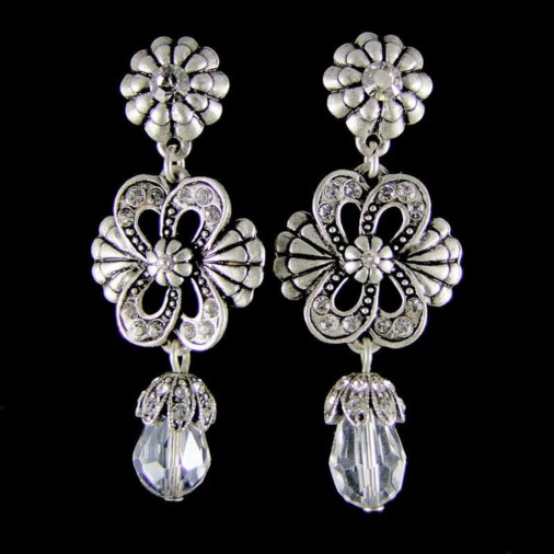 Victoria Crystal Shadow Earrings (Silver)