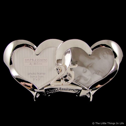 2 Heart Silver Plated 25th Wedding Anniversary Photo Frame