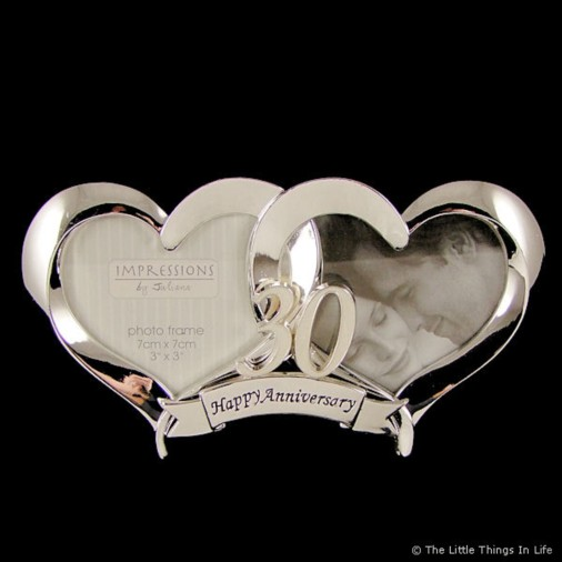 Gift Ideas For 30th Wedding Anniversary For Friends : Gifts > Wedding Anniversary Gifts > 2 Heart Silver plated 30th Wedding ...