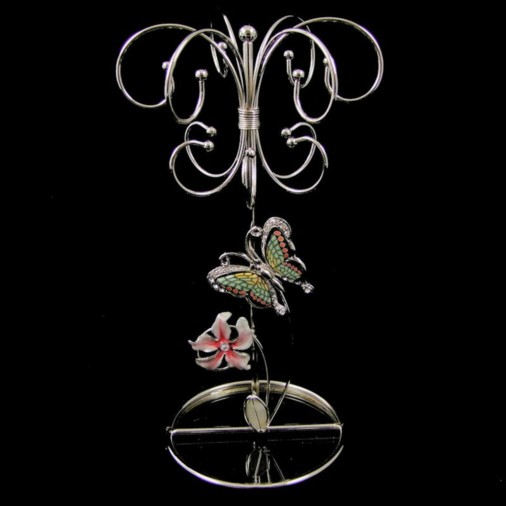 Juliana Glass Butterfly & Flowers Jewellery Holder Pink