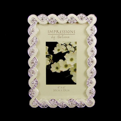 Impressions Silver plated Photo Frame Crystal Twist 4x6