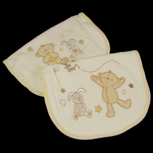 Button Corner Embroidered Set of 2 Baby Bibs
