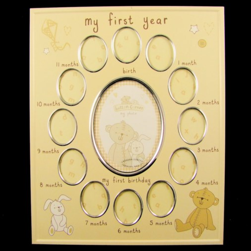 Button Corner Aluminium Photo Frame My First Year