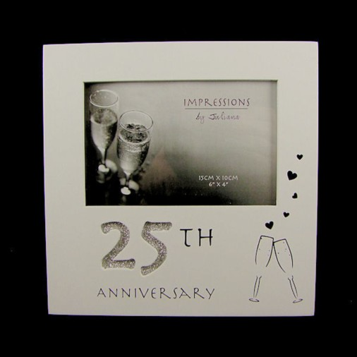 Juliana MDF White Photo Frame 25th Anniversary
