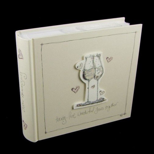 Tracey Russell Coffee & Cream Photo Album 4x6 25th Anniversary