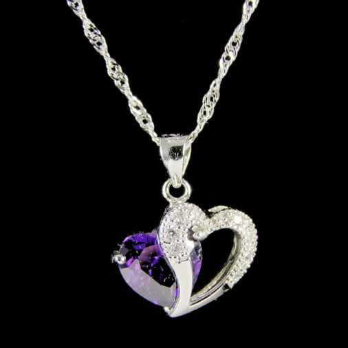 Silver Double Heart Purple Zircon Pendant