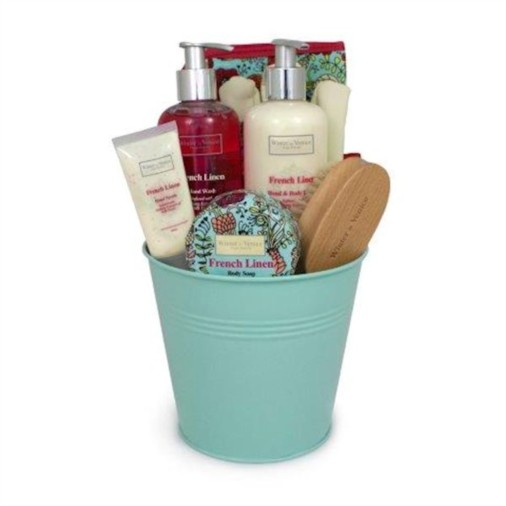 French Linen Metal Pail Gift Set with Milk Thistle Toiletries