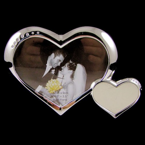 Bright Silver 2 Heart Frame