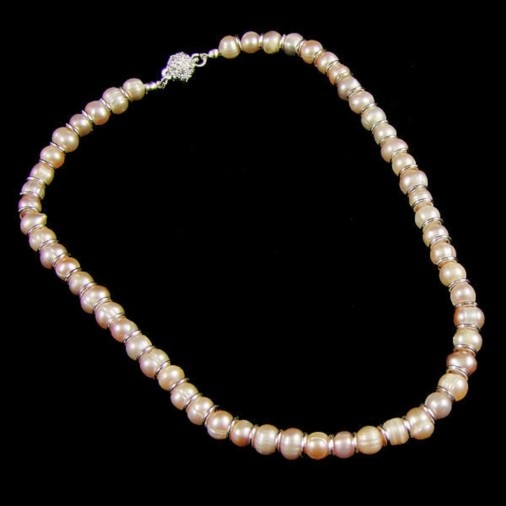 Magnetic Clasp Freshwater Pearl Necklace Champagne