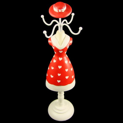Girl Jewellery Mannequin Multi Heart with Hat Red