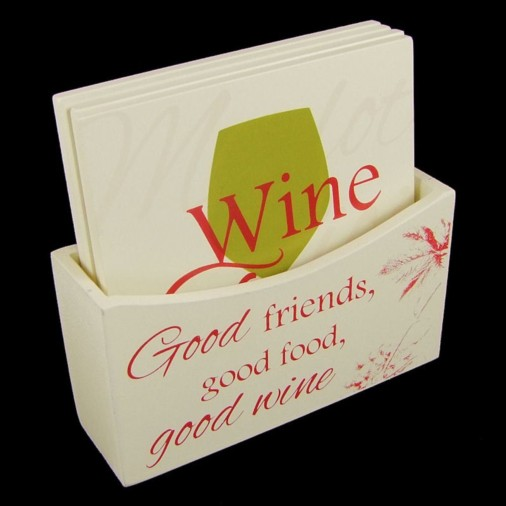 Wine Style Set of 4 Coasters-Cream