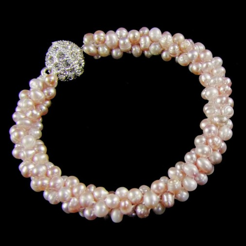 Freshwater Pearl Cluster Magnetic Clasp Bracelet Champagne