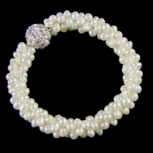 Freshwater Pearl Cluster Magnetic Clasp Bracelet Ivory
