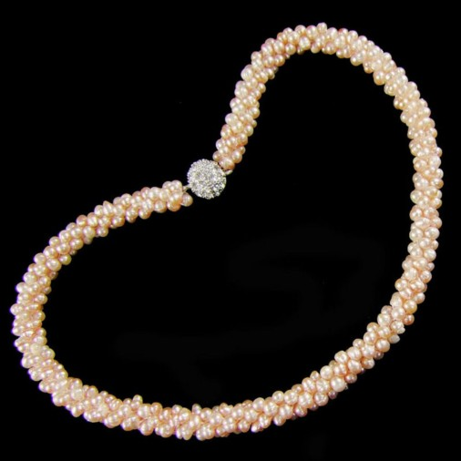 Freshwater Pearl Cluster Magnetic Clasp Necklace Pink