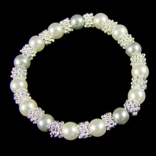 Silver Plated Pearl Lace Bracelet Silver
