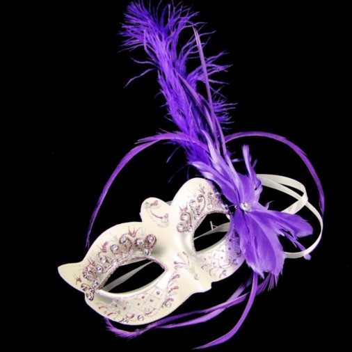 Bright Jewel Masquerade Mask with Feathers Purple