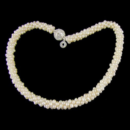 Freshwater Pearl Cluster Magnetic Clasp Necklace Ivory