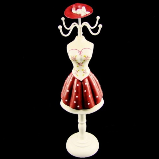 Elysee Girl Spot Pleated Jewellery Hanger White/Red