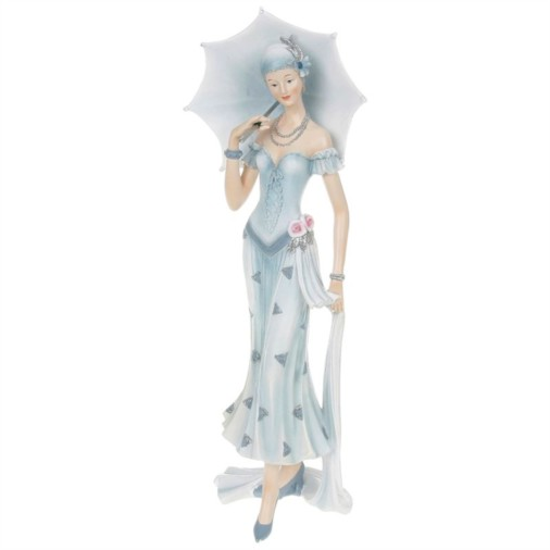 Pastel Charleston Parasol Lady Figurine Blue
