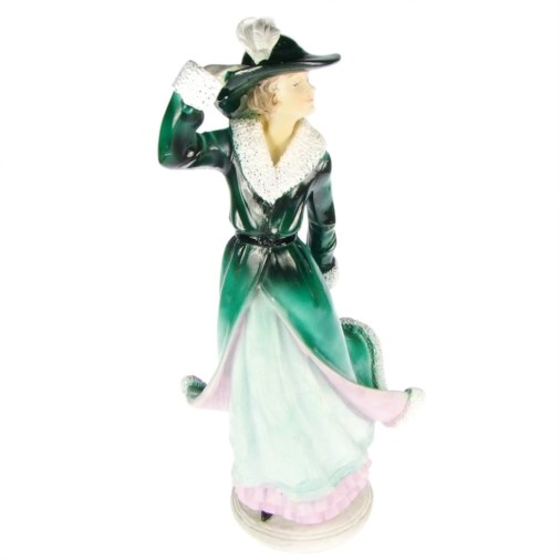 Elegant Winter Girl Figurine Green